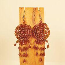 "2 1/2"" Long Amber Color Handmade Dream Catcher Style Dangle Seed Bead Earring"