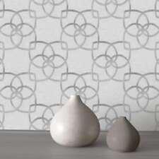 Marrakech Géométrique Papier Peint Argent/Gris-Muriva 601536 Métallique