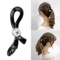 Womens Pearls Bow Banana Hair Clip Barrette Hairpin Non Slip Teeth Hair Grip