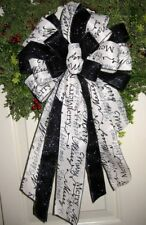 HANDMADE CHRISTMAS BOW WIRED RIBBON for HOLIDAY WREATH LANTERN GARLAND POST # 28