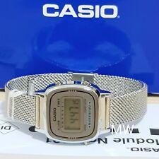 Casio Ladies Digital Quartz Alarm Dress Silver Watch LA670W LA-670WEM-7D New