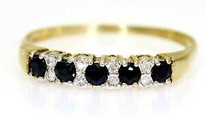 Sapphire & Diamond Half Eternity 9ct Yellow Gold Ring size Y ~ 12 1/4