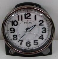 SEIKO NEW BLACK ALARM CLOCK  WITH QUIET SWEEP QHE143JLH W/ CONSTANT LIGHT
