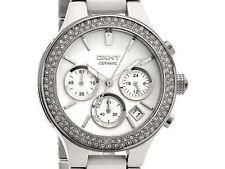 DKNY WHITE SILVER CRYSTAL CERAMIC CHRONOGRAPH WOMEN'S WATCH NY8181