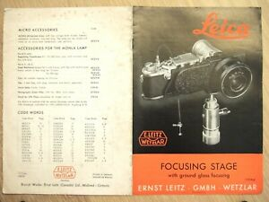 Leica FOCUSING STAGE Ground Glass Focusing BROCHURE Leitz 1956 English 12 pages