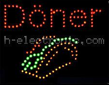 LED escudo kebap Donner kebab letreros publicitarias Neon Wow animación 45x35cm