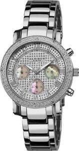 Akribos XXIV AK440SS Chronograph GMT Diamond Bezel Silvertone Womens Watch