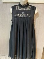 Free People Black A line dress Lace embroidered beaded Neckline Sleeveless S