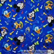 BonEful Fabric FQ Cotton Quilt Blue Disney Mickey Mouse Goofy Pluto Donald Duck