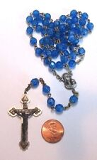 Vintage Blue Plastic Rosary Beads with Ornate Cross