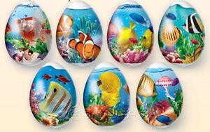 7 Abziehbilder verschiedene Auswahl Motive Ostern, Ostereier, Banderolle