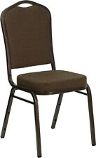 Crown Back Stacking Banquet Chair in Brown Patterned Fabric with Copper Frame
