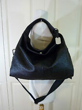 NWT Furla Onyx Black Ostrich Embossed Leather S/M Elisabeth Tote Bag $598