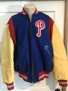 Vtg Philadelphia Phillies Mitchell & Ness Baseball Jacket coat sz Lg Leather