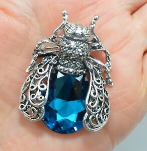 Bee Brooch Crystal Blue Silver Cicada Insect Pin Broach Retro Vintage Style Gift