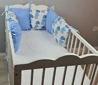 PILLOW BUMPER made from 6 cushions for cot/ cot  bed BLUE GREY ELEPHANTS