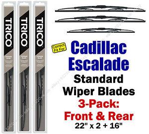 Wiper Blades 3pk Front Rear Standard fit 2002-2006 Cadillac Escalade 30221x2/160