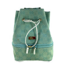 GUCCI VINTAGE TEAL MONOGRAM COSMETIC CASE BAG