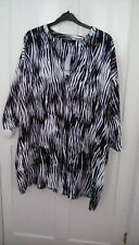 BNWT - Evans black/white animal print tunic blouse, size 20, RRP £38