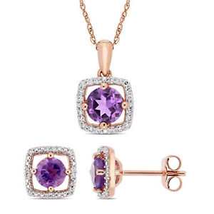 Amour 10k Rose Gold Amethyst and Diamond Floating Halo Necklace & Earrings Set