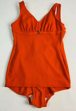 Vintage Swimsuit 1960's one-piece bathing swim suit swimdress Red Medium