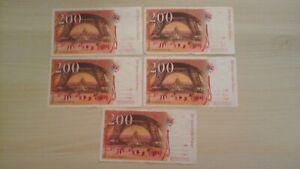 Lot 5 billets 200 francs Gustave Eiffel