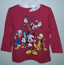 Old Navy Boys Girls 12-18 MONTHS Disney MICKEY MOUSE Christmas Shirt RED #104218