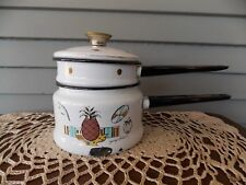 Vintage Signed Georges Briard Pineapple Ambrosia Enamelware Double Boiler