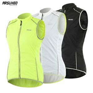 Women Cycling Vest Windproof Sleeveless Bicycle Jersey Running Reflective Vest