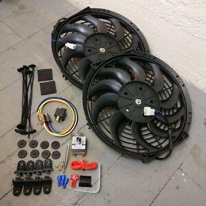 "GM B-Body Dual 12"" Radiator Cooling S-Fan Kit Adj Temp Switch 88 bonneville 5.7l"