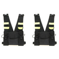 2X Chest Front Pack Pouch Holster Carry Bag Baofeng Kenwood Yaesu Walkie talkie