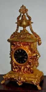 RARE BEAUTIFUL FRENCH JAPY FRERE ANTIQUE GILT 8 DAY CHIME CLOCK WORKING