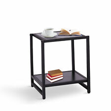 Homcom mesa auxiliar con 2 estantes para Salón Sofá 38x38x45.7cm negro metal
