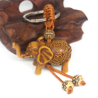 Lucky Elephant Carving Wooden Pendant Keychain Key Ring Chain Decoration Gift SL