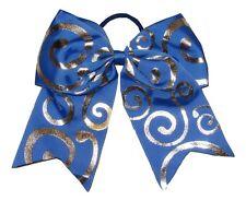 "NEW ""Silver Swirl ROYAL BLUE"" Cheer Bow Pony Tail Ribbon Hair Bows Cheerleading"
