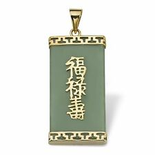 Natural Light Green Jade 18KGP Blessing Fortune Longevity Pendant Chain Necklace