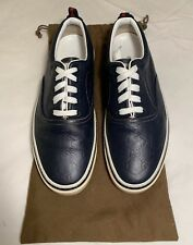 18a555b0270a Vintage Gucci Blue Leather Size 10 Classic Monogram Low Top Boat Shoe