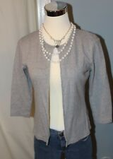ANN TAYLOR Gray 3/4 Sleeve Cardigan Small Excellent Condition!