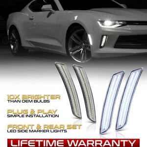 [WHITE LED] Front&Rear Fender Lamp 16-20 Chevy Camaro Chrome Side Marker Lights