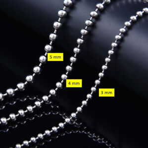 C30 Ball Necklace Silver Beads Sterling Silver 925 Length Selectable 4 MM