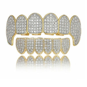 14K Gold Plated CZ Teeth Grillz Hip Hop Top Bottom Mouth Silver Grill Set Custom