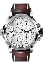 TIMECODE Marconi Herrenuhr Chronograph Leder Datum Dual-Time 46mm TC-1002-02