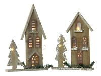 Wooden Christmas Decoration - House LED Lights Traditional Glittery Ornament