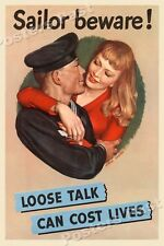 """1940s """"Loose Talk Can Cost Lives"""" WWII Historic Propaganda War Poster - 20x30"""