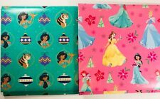 Disney Princess TWO PATTERNS! Jasmine Belle Ariel & More! Wrapping Paper 40sqft