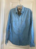 REI UPF 50+ Blue Nylon Long-Sleeve Button Down Shirt Vented Men's Small