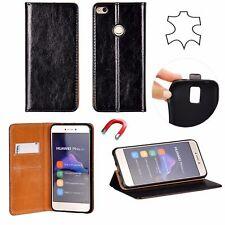 ^ Xiaomi Redmi 5 Plus Echt Leder Book Flip Case Handy Tasche Schutzhülle SCHWARZ