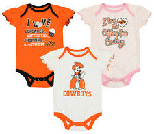Outerstuff Ncaa Infant Girls Oklahoma State Cowboys Three Piece Creeper Set