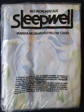 """Nos! Nwt! Pair vintage Sleepwell Pillowcases: 20"""" X 30"""" No Iron Percale: Exc"""