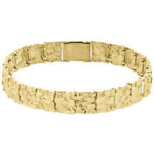 """Mens Real 10K Yellow Gold Solid Nugget Ore Style Fancy Link Bracelet 11mm   8.5"""""""